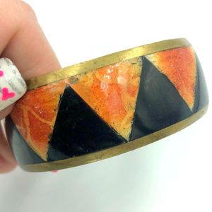 orange black triangle bangle bracelet Halloween
